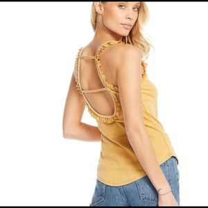 CHASER | rib ruffle scoop strappy back tank S